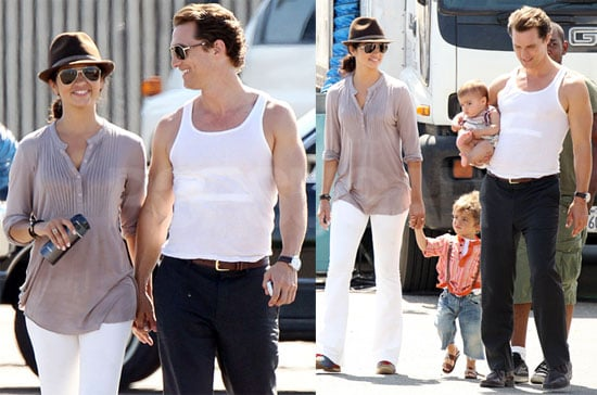 Pictures of Matthew McConaughey, Camila, Levi, and Vida on the Set of the Lincoln Lawyer in LA