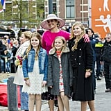 Queen Máxima and Princesses Alexia, Ariane, and Catharina-Amalia at King's Day.