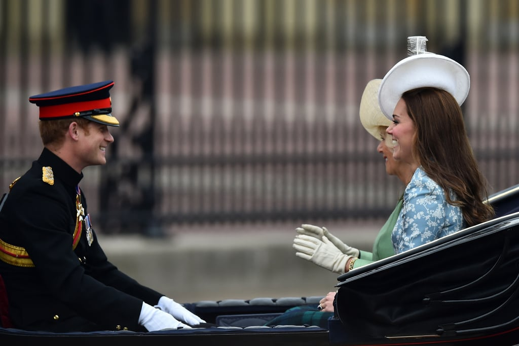 They rode in a carriage together with Camilla, Duchess of Cornwall, for the 2015 Trooping the Colour ceremony.