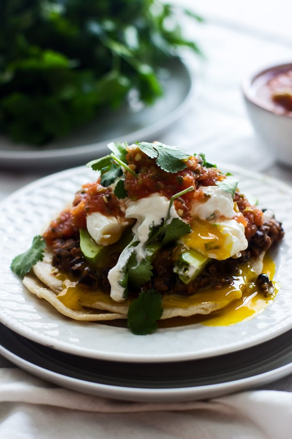 Mexican Breakfast Tostadas With Chorizo Refried Beans