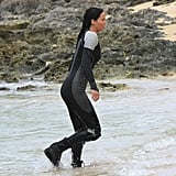 Jennifer Lawrence wore a wet suit on the set of Catching Fire.