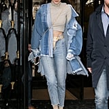 For another denim on denim look in March 2017, Gigi accessorised with all taupe coloured accessories.