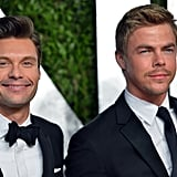 Ryan Seacrest and Derek Hough arrived at the Vanity Fair Oscar party on Sunday night.