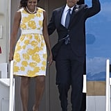 President Obama waved when he and Michelle landed in Florida.