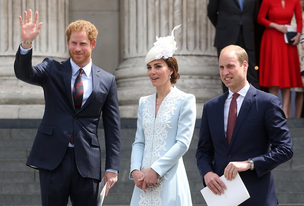 Harry, Kate, and William looked to be in good spirits as they made their way to St. Paul's Cathedral in June for a national service of thanksgiving in support of the queen.