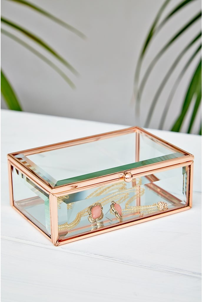 Oola Rose Gold Glass Jewellery Box 20 Rose Gold Home Decor