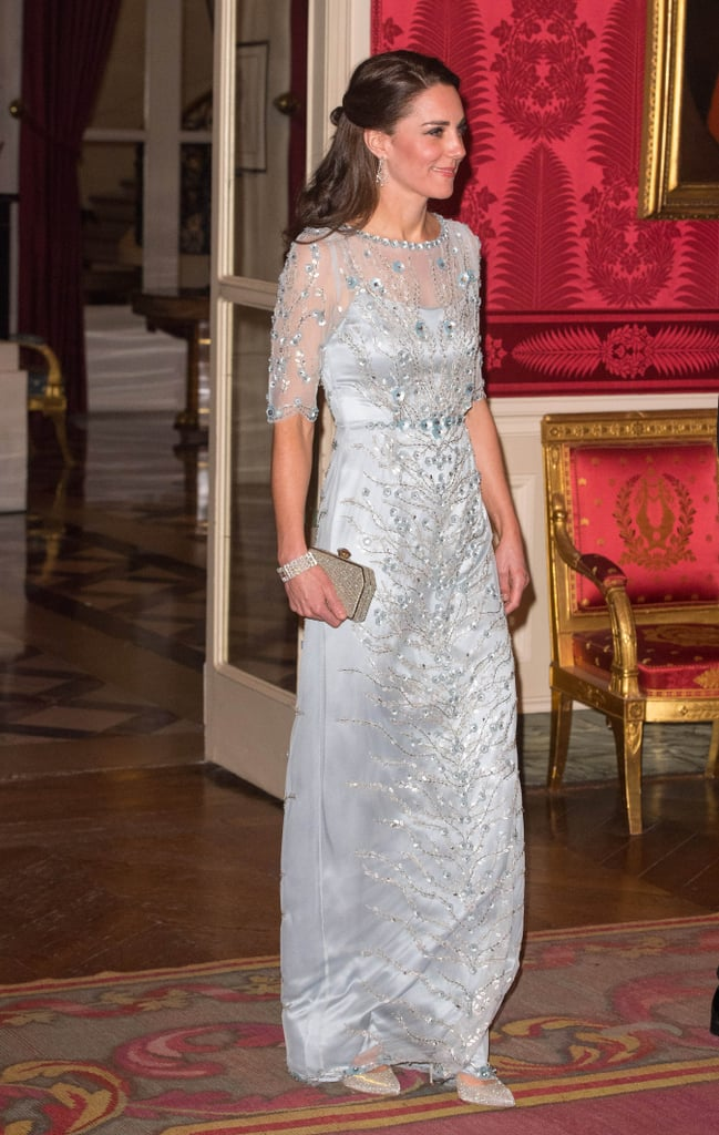 For a dinner hosted by her majesty's ambassador to France, the duchess wowed in a metallic Jenny Packham gown.