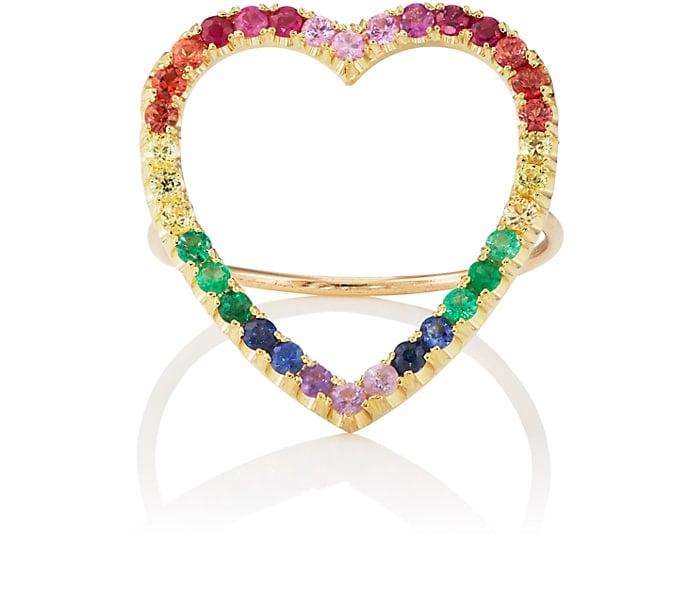 Jennifer Meyer Rainbow Open Heart Ring