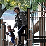 Gisele Bundchen and Benjamin Brady ran around a playground together.