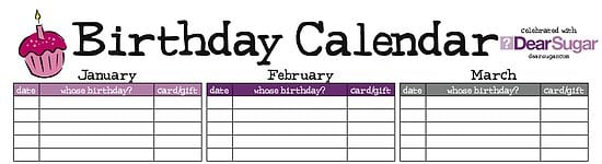 Sugar Shout Out: Stay Organized with Dear's Birthday Calendar!