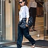 Wearing Céline Sandals