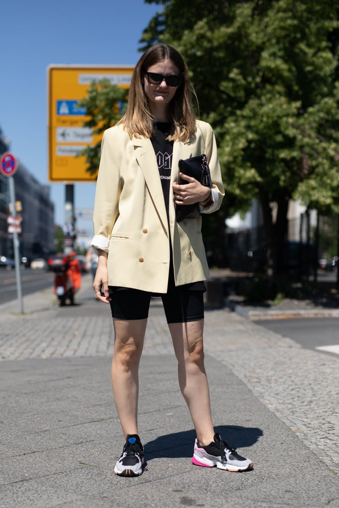 Embrace The Biker Short Trend With A Blazer And Sneakers To Bring The Best Summer Style 2018 Popsugar Fashion Uk Photo 36