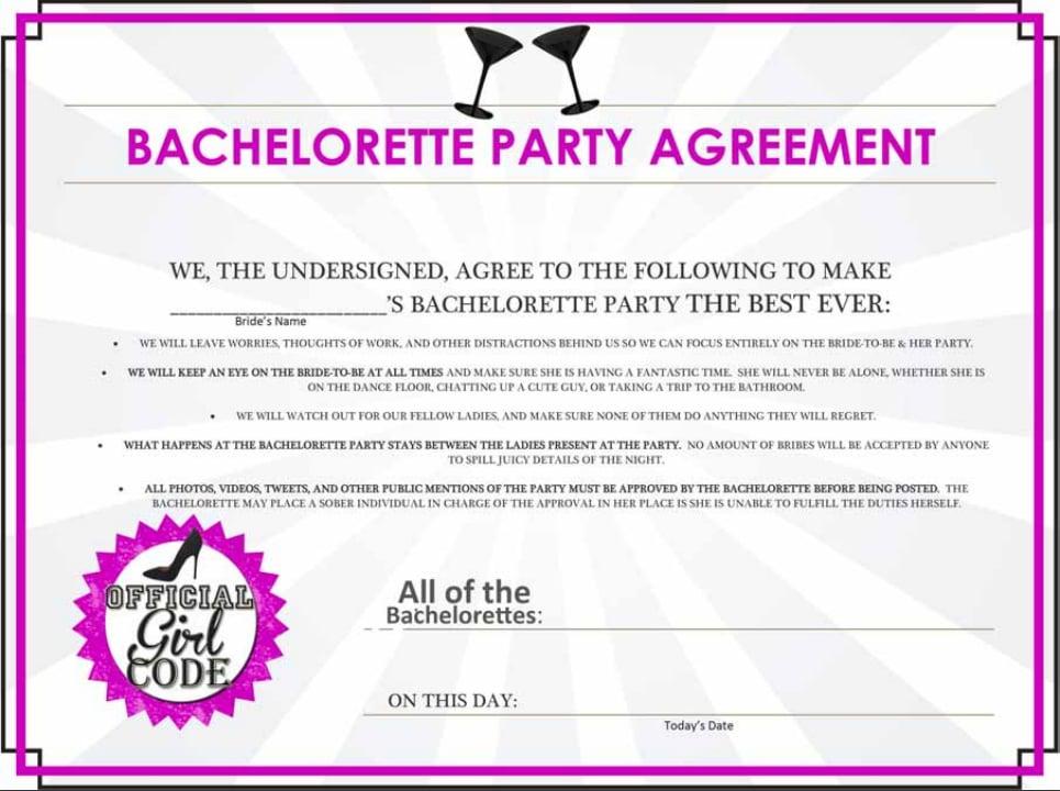 Bachelorette Party Agreement Free Bachelorette Party Printables