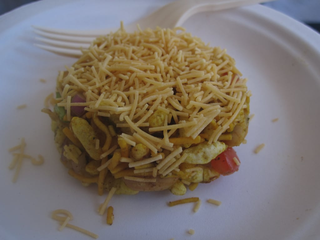 Dubbed bhel poori, this interesting Indian snack consisted of puffy rice, crunchy peanuts, and fresh tomatoes. It was totally vegan and totally delicious!
