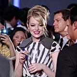 Emma Stone signed autographs for fans.