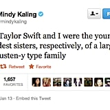Mindy Kaling has a fantasy about Jane Austen and Taylor Swift.
