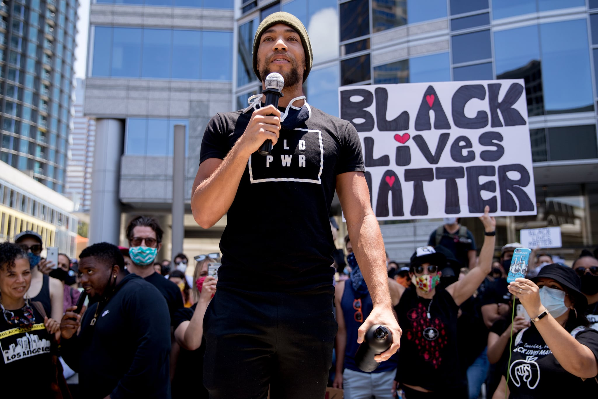 BEVERLY HILLS, CALIFORNIA - JUNE 06: Kendrick Sampson participates in the Hollywood talent agencies march to support Black Lives Matter protests on June 06, 2020 in Beverly Hills, California. (Photo by Rich Fury/Getty Images)