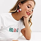 ASOS Design Holidays Tinsel Ball Hoop Earrings