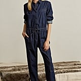 Genuine People Cinched Waist Denim Jumpsuit