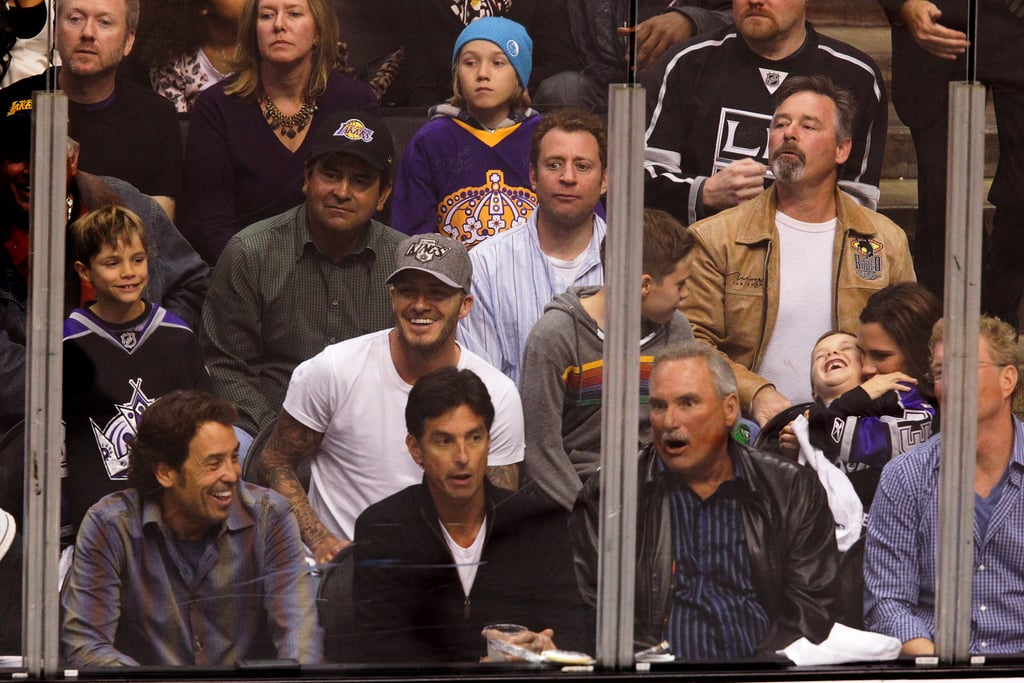 David Beckham and Victoria Beckham enjoyed the playoff hockey game with their kids at LA's Staples Center.