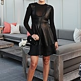 Malin Akerman took a sexy approach to evening dressing in a black leather Mandy Coon dress and Giuseppe Zanotti sandals.
