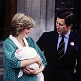 Princess Diana held newborn Prince William as she and Prince Charles left London's St. Mary's Hospital in June 1982.