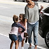 Halle Berry took Nahla Aubry and a friend to a movie in Hollywood.
