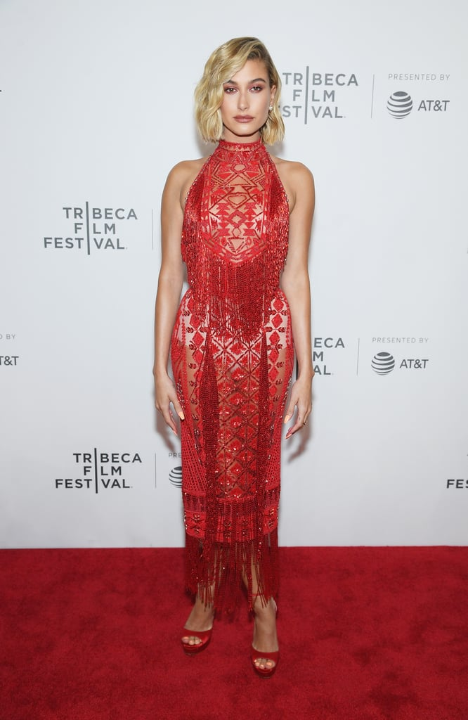 Hailey stunned in this Zuhair Murad halter number at the Tribeca Film Festival in April, coordinating the midi dress with Jimmy Choo heels and Bulgari jewels.