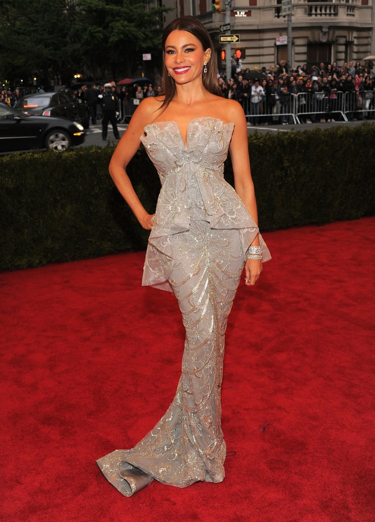 Sofia Vergara wore a silver embellished Marchesa to the event.