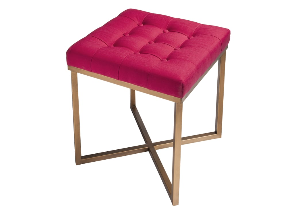 We can picture this pink linen stool ($70) — the ultimate girlie piece — sitting pretty at a vanity.