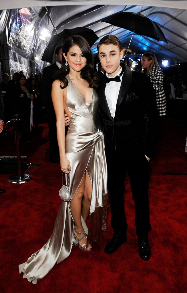 Selena Gomez and Justin Beiber stayed dry together at the American Music Awards.