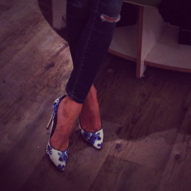 We had instantaneous shoe envy when we saw Olivia Palermo's printed heels.