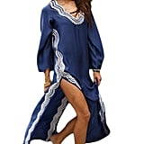 Bsubseach Navy Embroidery Long Sleeve Swimsuit Cover Up for Women