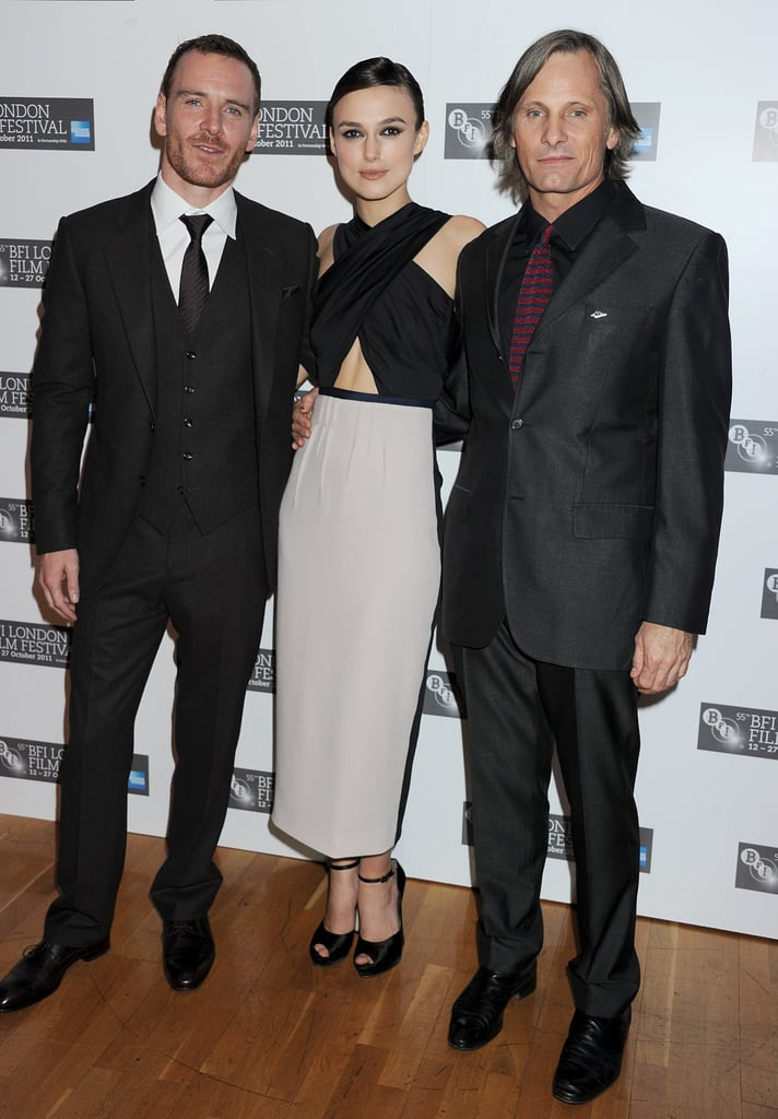 Michael Fassbender, Keira Knightley, and Viggo Mortensen in London for the premiere of A Dangerous Method.
