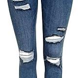 Topshop 'Jamie' Moto Blue Super Rip Jeans ($80)