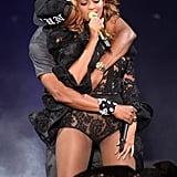 "Beyoncé and Jay Z showed onstage PDA during their ""On the Run"" Tour stop in New Jersey in July 2014."