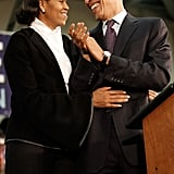 Michelle showed some affection during a rally in New Hampshire.