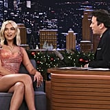 Dua Lipa's Atelier Versace Pink Glitter Dress on Fallon