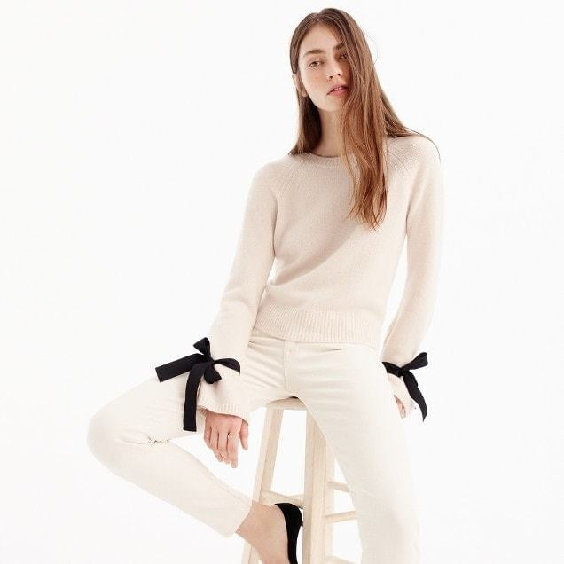 f2d2ede97fde65 J.Crew Cashmere tie-sleeve sweater | Holiday Sweaters 2017 ...