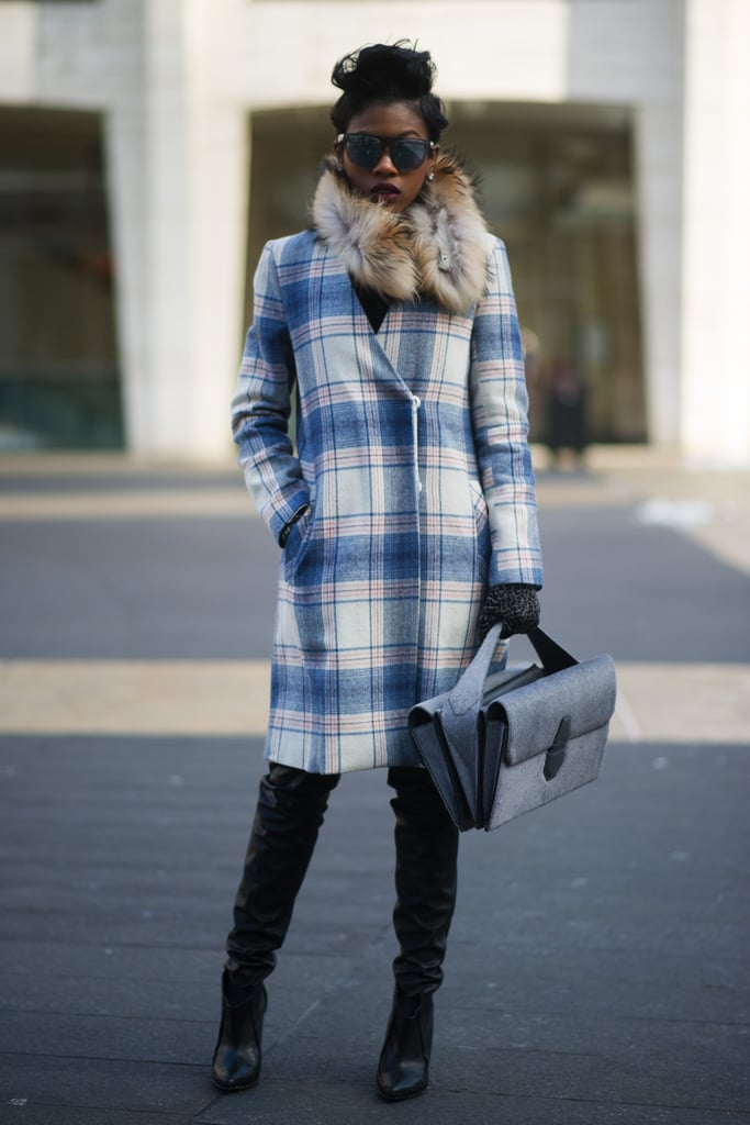 Prep school goes glam with the help of a plaid coat and leather pants.