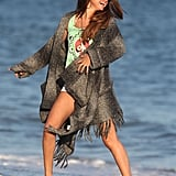 Selena Gomez laughed while on the beach in Malibu with friends.