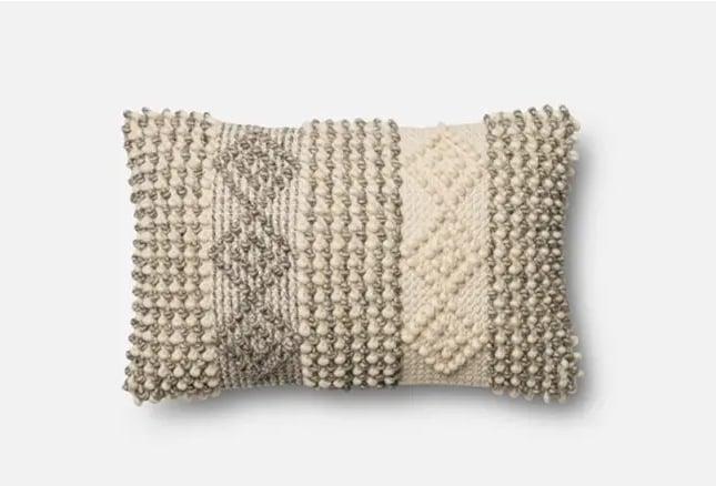 Magnolia Home Grey/Ivory Diamond Stripes Pillow
