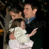 Katie Holmes and Tom Cruise took Suri home from dinner.