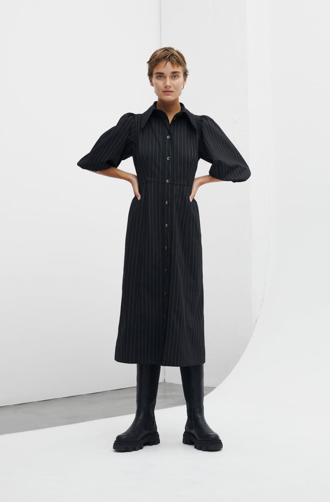Ganni x 11 Honoré Love Drop Stretch Stripe Shirt Dress