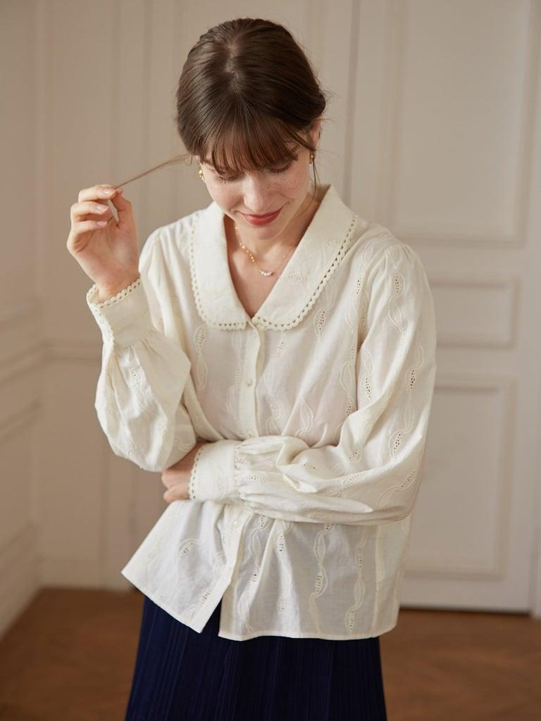Simple Retro Victoria 100% Cotton Peter Pan Collar Shirt
