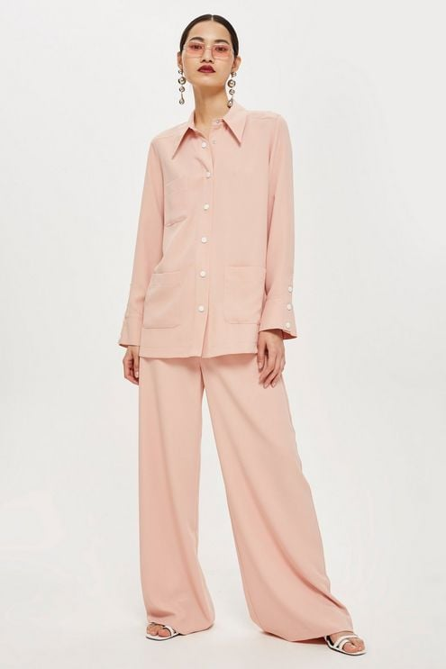 Pink Long-Sleeve Shirt and Wide-Leg Trousers