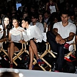 Kendall Jenner, Kourtney Kardashian, Kim Kardashian, Kris Humphries, and Brody Jenner at the Abbey Dawn by Avril Lavigne Spring 2012 fashion show.