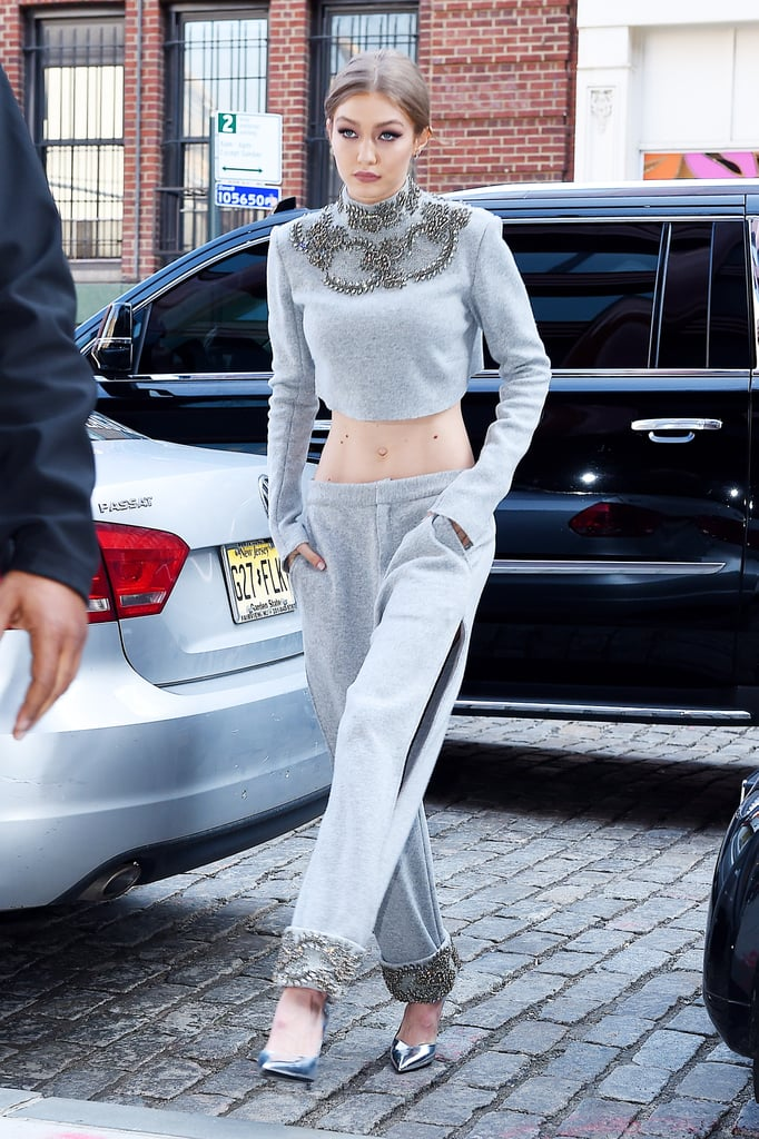 Gigi Hadid in a Cashmere Wool Sally LaPointe Crop Top and Trousers