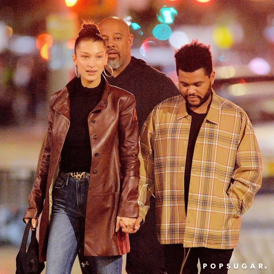 Bella Hadid Brown Leather Coat With the Weeknd 2018