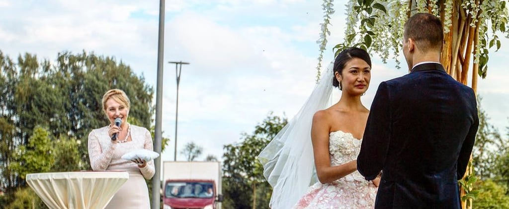 "This Model Said ""I Do"" in a Pink Wedding Gown, Then Made 1 Simple Style Switch For the Reception"